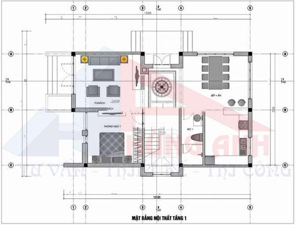 Bản vẽ thiết kế nhà 2 tầng 7x13m 3 phòng ngủ