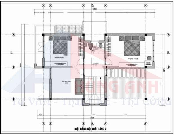 Bản vẽ thiết kế nhà 2 tầng 7x13m 3 phòng ngủ tầng 2