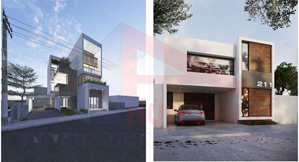 thiết kế nhà 2 tầng mái bằng đẹp