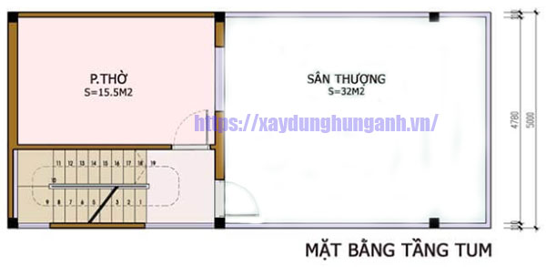 Thiết kế nhà 50m2 5x10 tầng lửng