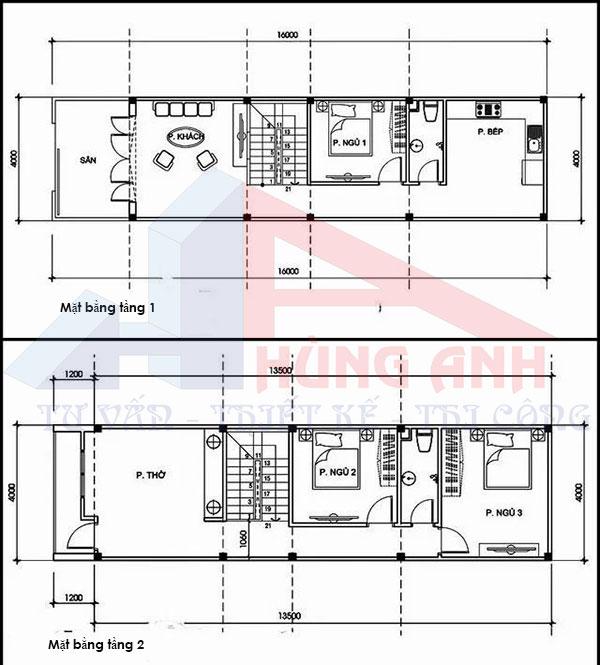bản vẽ Nhà ống 2 tầng 4 phòng ngủ 100m2