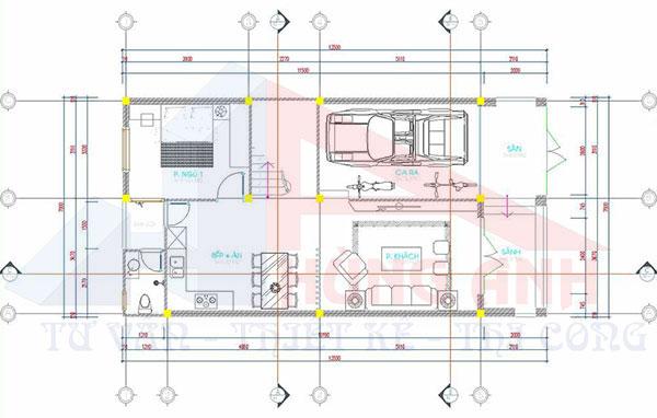 Thiết kế nhà 2 tầng rộng 7m dài 13m 3 phòng ngủ